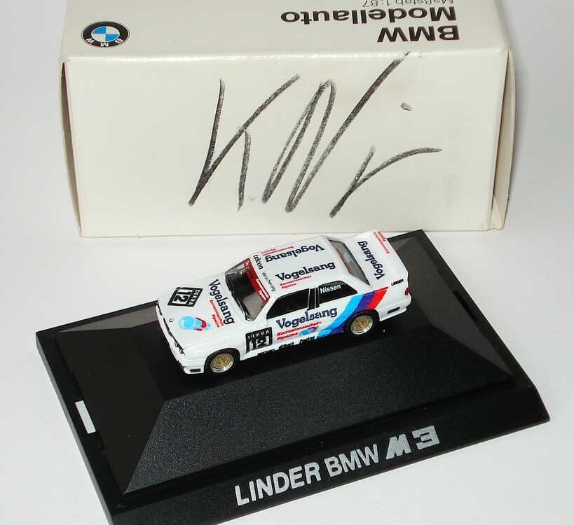 Foto 1:87 BMW M3 (E30) DTM 1990 Linder, Vogelsang Nr.12, Nissen Werbemodell mit Fahrerautogramm auf Verpackung herpa 82229417845
