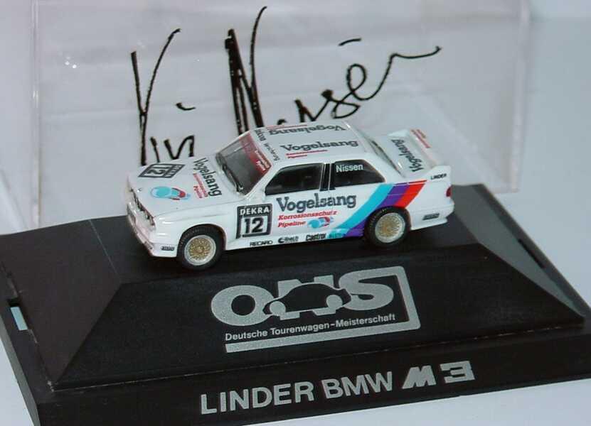 Foto 1:87 BMW M3 (E30) DTM 1990 Linder, Vogelsang Nr.12, Nissen mit Fahrerautogramm herpa 3527