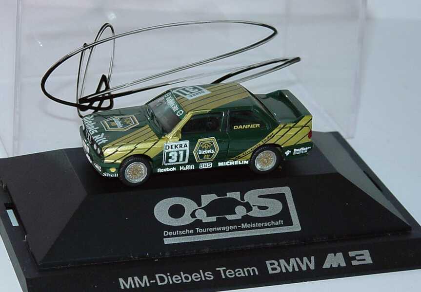 Foto 1:87 BMW M3 (E30) DTM 1991 MM, Diebels Alt Nr.31, Danner mit Fahrerautogramm herpa 3534