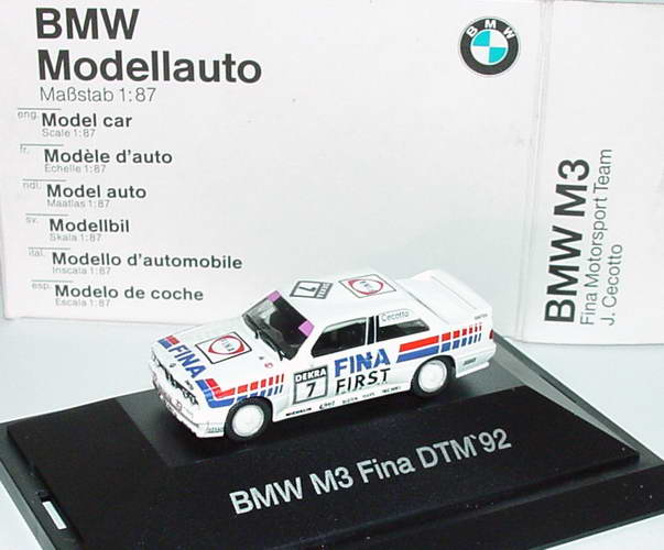 Foto 1:87 BMW M3 (E30) DTM 1992 Fina First Nr.7, Cecotto Werbemodell herpa 80419419699