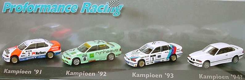 Foto 1:87 BMW Proformance Racing (325i Marlboro Nr.2, 325i rijnhaave Nr.6, 325i Dealerteam Nr.1, M3 Coupé weiß) in 4er-PC-Box herpa