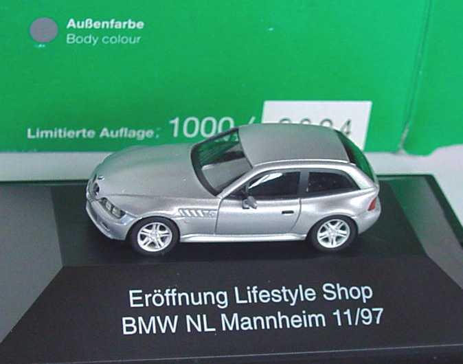 Foto 1:87 BMW Z3 Coupé 2.8 silber-met. Eröffnung Lifestyle Shop BMW NL Mannheim 11/97 herpa