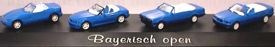 Foto 1:87 Bayrisch open (BMW Z1, Z3, E30 Cabrio, E36 Cabrio blau, IA+Felgen weiß) herpa