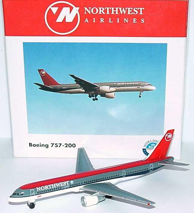 Foto 1:500 Boeing B 757-200 Northwest Airlines (mit KLM-Logo) herpa Wings 503716