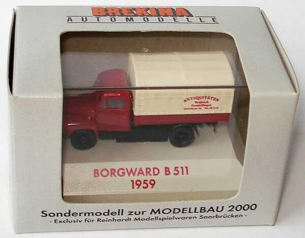 Foto 1:87 Borgward B 511 Pritsche/Plane Antiquitäten Fridrich, Gundelfingen (Sondermodell Modellbau 2000, Freiburg) Brekina