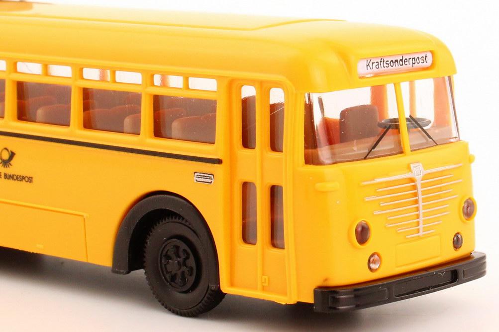 Foto 1:87 Büssing 6500 T Postbus mit Westfalia Gepäckanhänger Deutsche Bundespost (Post-Serie 9) Brekina