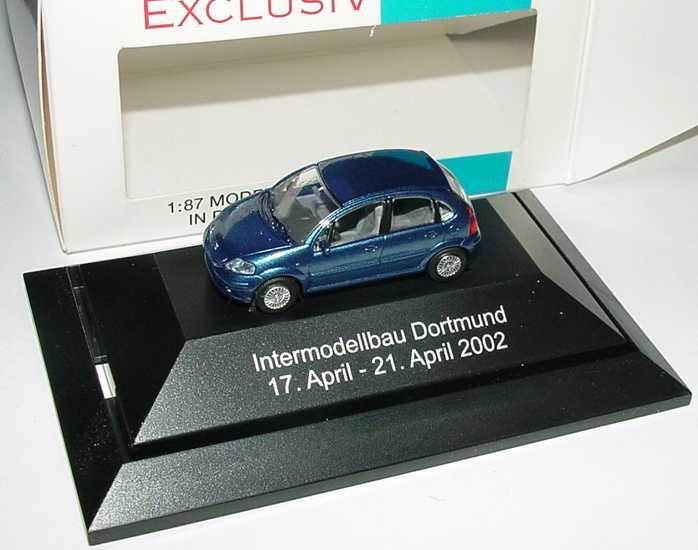 Foto 1:87 Citroen C3 blau-met. Intermodellbau Dortmund 2002 Rietze