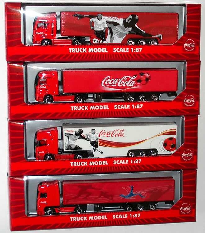 Foto 1:87 Coca-Cola Fußball-Trucks (4 Stück, DAF 95 XF + MAN TG-A + MB Actros MP2 + Scania R144 TL) Magic LC26002