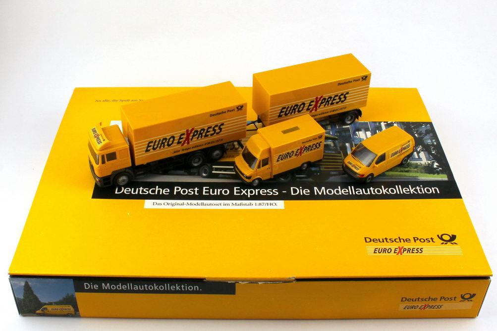 Foto 1:87 Deutsche Post Euro Express Setpackung (MAN F2000 Evo WKo-Hgz + MB 207 Kögel + MB Vito) herpa