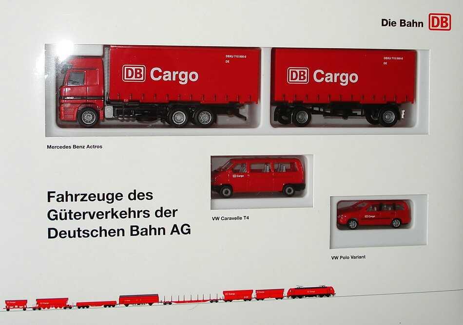 Foto 1:87 Die Bahn DB Setpackung DB Cargo - Fahrzeuge des Güterferkehrs der Deutschen Bahn AG (MB Actros HGZ + VW T4 + VW Polo Variant) AMW/AWM