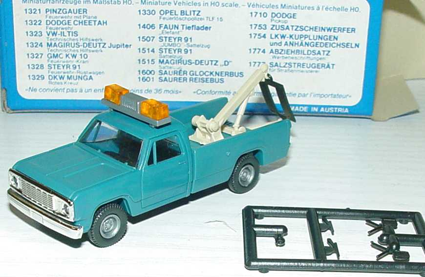 Foto 1:87 Dodge Pick-Up 1977 Abschleppwagen graublau Roco 1712