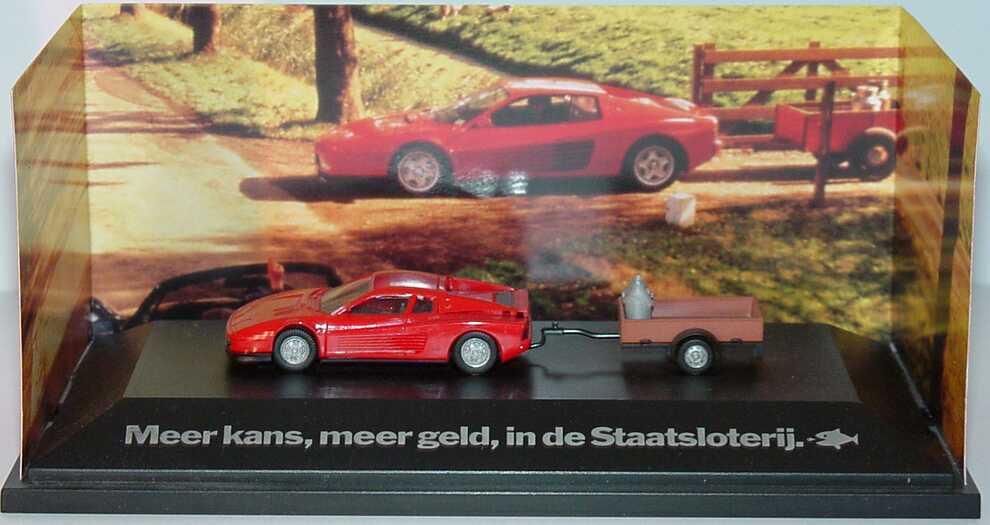 Foto 1:87 Ferrari Testarossa rot mit Anhänger Meer kans, meer geld, in de Staatsloterij herpa 247104