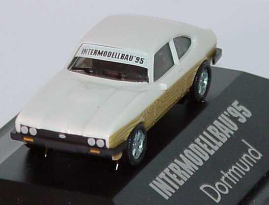 Foto 1:87 Ford Capri Mk III 3.0 Ghia beigeweiß mit seitl. Holzdekor Intermodellbau ´95 Dortmund herpa