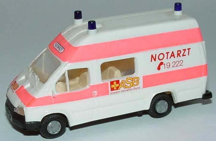 Foto 1:87 Ford Transit B Bus Rettungswagen ASB Notarzt Praliné