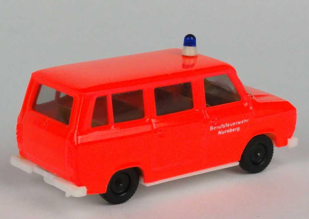 Herpa Ford Transit Bus MTW Feuerwehr leuchtrot neutral Nürnberg 4026 1:87 H0