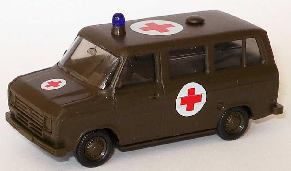 Foto 1:87 Ford Transit Bus Militär Rotes Kreuz olivgrün seidenmatt Maag