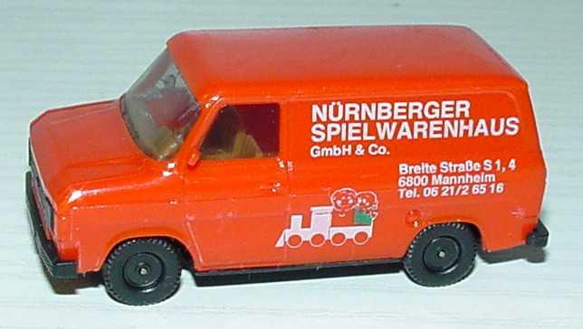 Foto 1:87 Ford Transit MK2 Kasten orange Nürnberger Spielwarenhaus, Mannheim herpa