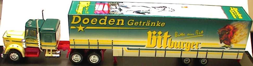 Foto 1:87 Freightliner CON JuPPSzg 3/2 Bitburger, Doeden Getränke herpa