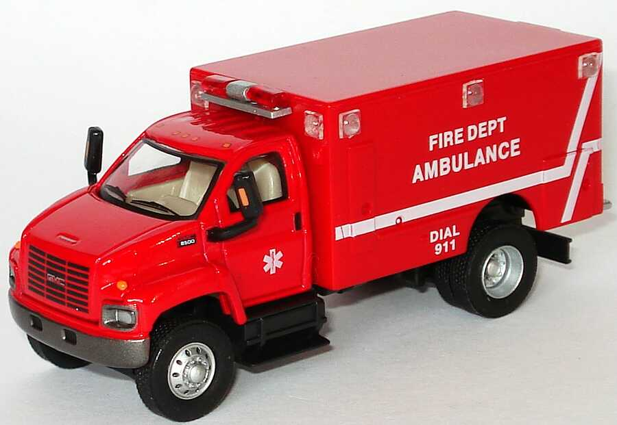 Foto 1:87 GMC TopKick Rettungswagen Fire Department Ambulance rot Schuco 21821/21818
