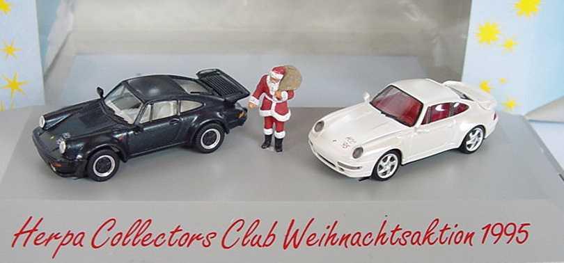 Foto 1:87 HCC Weihnachtsmodell 1995 (911 Turbo (G-Modell) dunkelblau-met. + 911 Turbo (Typ 993) weiß-met. und Weihnachtsmann) herpa 195614