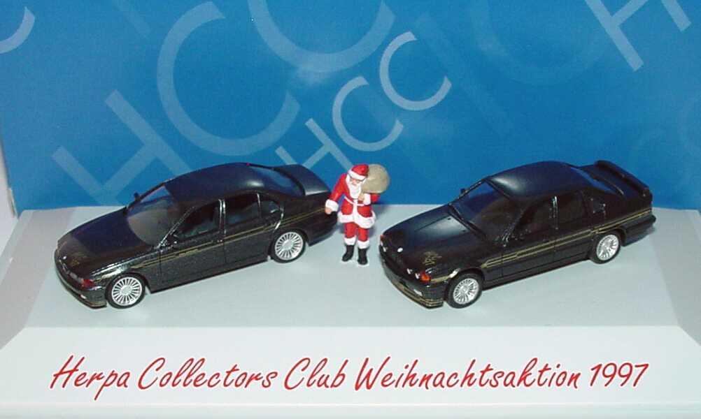 Foto 1:87 HCC Weihnachtsmodell 1997 (Alpina BMW B10 V8 + B10 Bi-Turbo anthrazit-met. mit Weihnachtsmann) herpa 195478