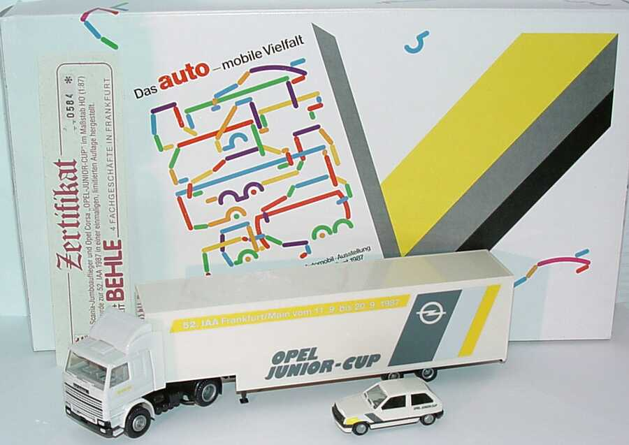 Foto 1:87 Herpa-Setpackung IAA 1997 Das Auto - mobile Vielfalt (Opel Corsa A + Scania R142 Fv RenntransportSzg Opel Junior-Cup) herpa