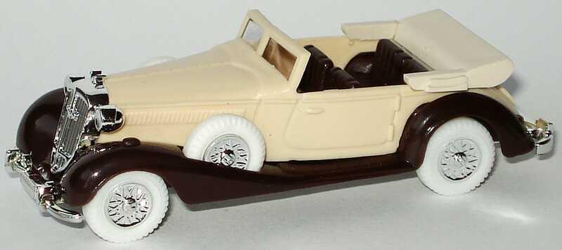 Foto 1:87 Horch 853 Cabrio beige/dunkelbraun, weiße Reifen Praliné