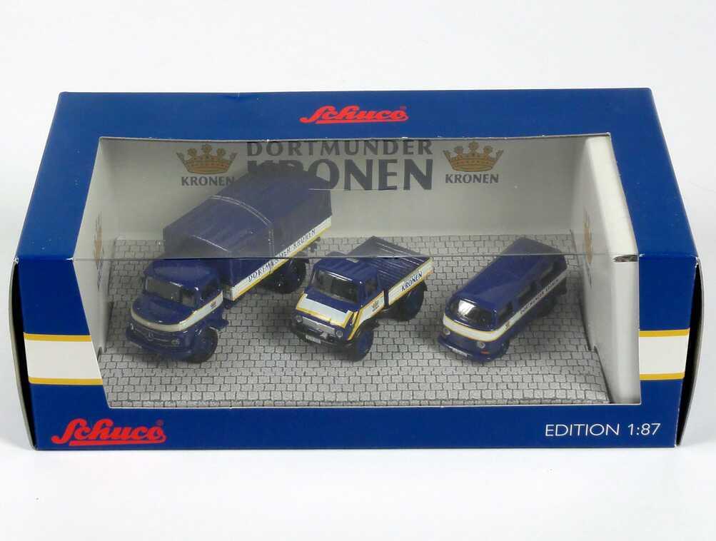 Foto 1:87 Intermodellbau 2010 Setpackung Dortmunder Kronen (Mercedes L311 + Unimog U406 + VW T2 Bus) Schuco 452574700