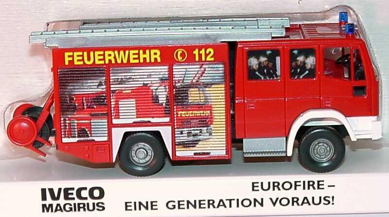 Foto 1:87 Iveco EuroFire LF 16/12 Feuerwehr, gelbe Schrift, Motiv Drehleiter Werbemodell Wiking 2653