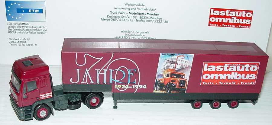 Foto 1:87 Iveco EuroTech Hochdach JuPPSzg 2/3 70 Jahre Lastauto Omnibus Albedo