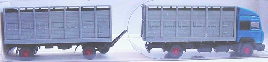 Foto 1:87 Iveco TurboStar Fv ViehtransportHgz 2/2 blau, grau Wiking 56526