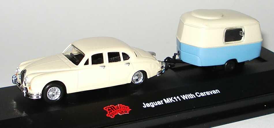 Foto 1:87 Jaguar MK II cremeweiß mit Wohnwagen Malibu International 06009