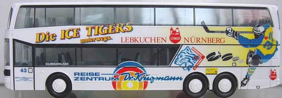 Foto 1:87 Kässbohrer-Setra S 228 DT Dr. Krugmann, Ice Tigers herpa