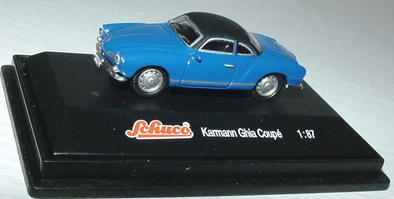 Foto 1:87 Karmann Ghia Coupé blau, Dach schwarz Werbemodell Schuco Z058431MS
