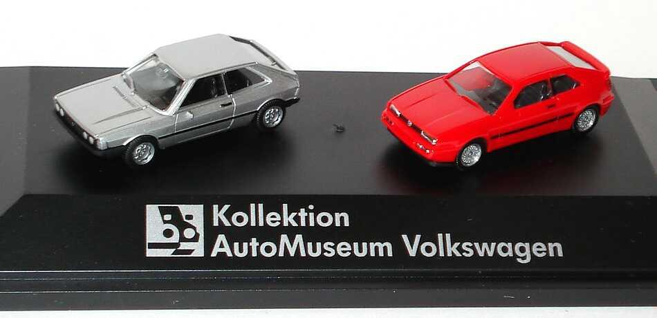 Foto 1:87 Kollektion AutoMuseum Volkswagen (VW Scirocco I silber-met. + VW Corrado rot) Werbemodell herpa