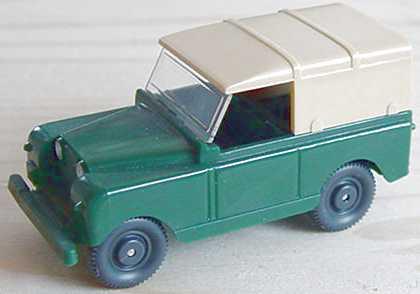 Foto 1:87 Land Rover kurz mit Verdeck dunkelgrün/beige (oV, Mängel) Wiking