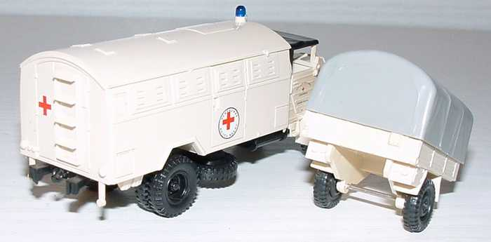 Foto 1:87 MAN 630 Lazarett-Lkw mit 1a Anhänger Deutsches Rotes Kreuz Roco 1339