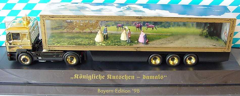 Foto 1:87 MAN F2000 Evo TransparentKoSzg 2/3 Königliche Kutschen-damals - Bayern LKW ´98 herpa