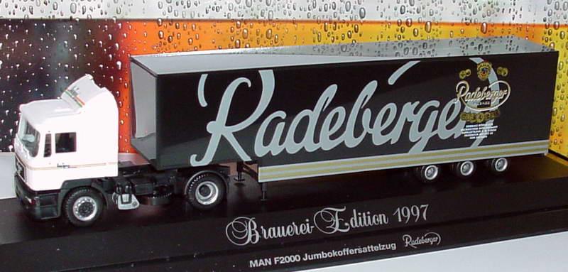 Foto 1:87 MAN F2000 Fv JuKoSzg 2/3 Radeberger, Heiloo Getränke Mühlau (Brauerei-Edition 1997) herpa 185981