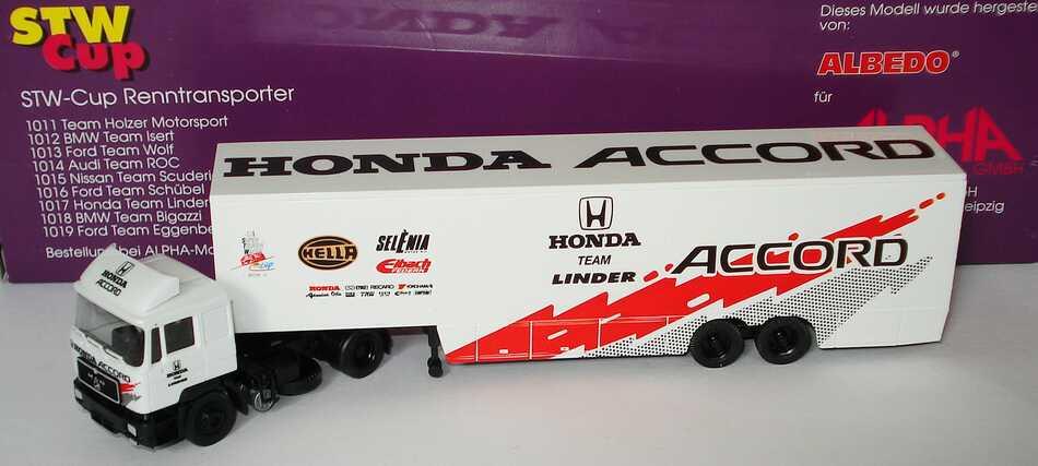 Foto 1:87 MAN F90 KoSzg Cv 2/2 STW-Cup Renntransporter Honda Team Linder Albedo AlphaMarketing1017