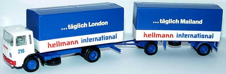 Foto 1:87 MAN (K) PPSzg 2/2 Hellmann International, ...täglich London, ...täglich Mailand herpa