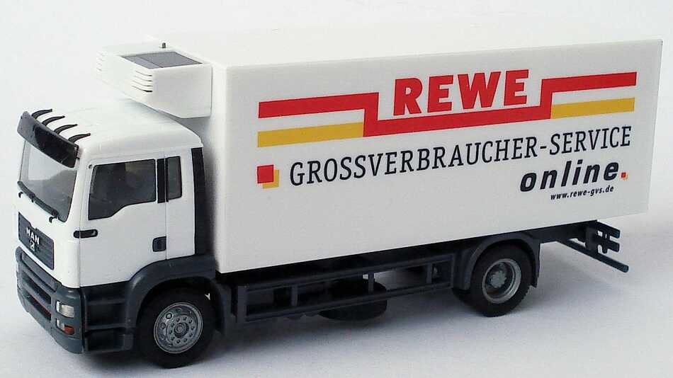 Foto 1:87 MAN TG-A M 2a Küko-LKW REWE Großverbraucher-Service herpa