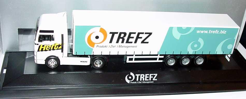 Foto 1:87 MAN TG-A XXL Fv Cv GpSzg 2/3 Hertz, Trefz - Produkt > Ziel > Management (Gönemeyer-Mensch-Tournee-Truck) herpa