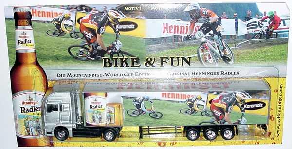 Foto 1:87 MAN TG-A XXL Fv Cv KoSzg 2/3 Henninger Radler, Bike & Fun (Motiv 1) Hümmer Werbeartikel