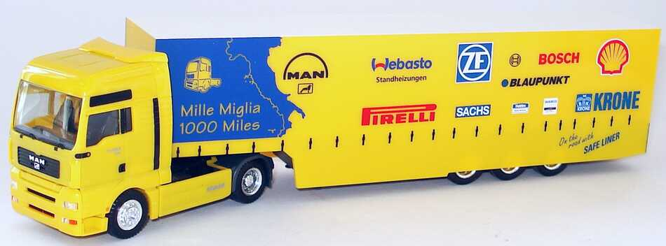 Foto 1:87 MAN TG-A XXL Fv Cv Safeliner GPSzg 2/3 Mille Miglia, 1000 Miles Werbemodell herpa 09.38069-0198
