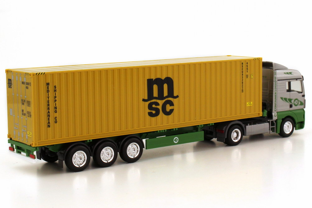 Foto 1:87 MAN TGX XLX Fv 40ft. Container-Szg 2/3 EKB Kieserling, MSC herpa 156370