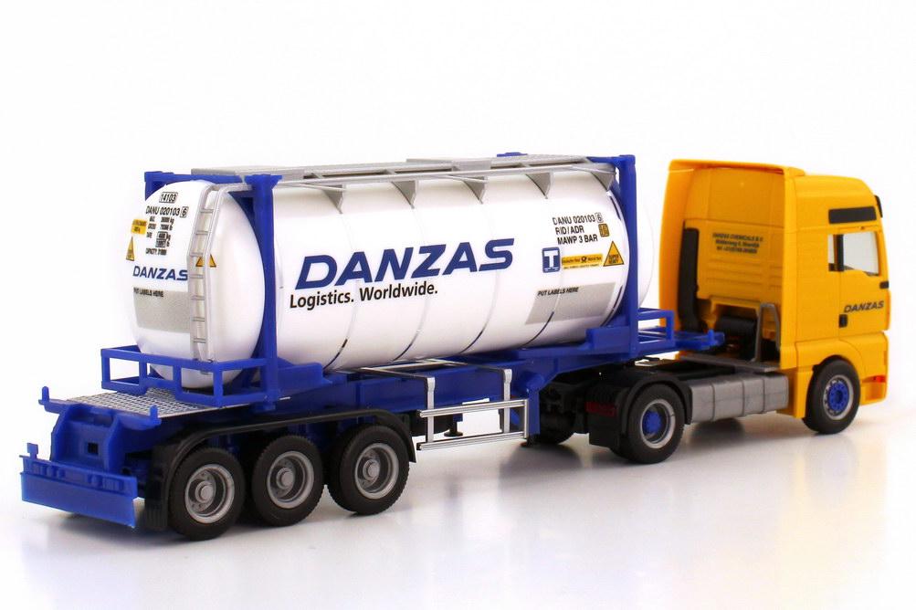 Foto 1:87 MAN TG-A XXL Fv 20ft. Swap-Tankcontainer-Szg 2/3 Danzas herpa 148276