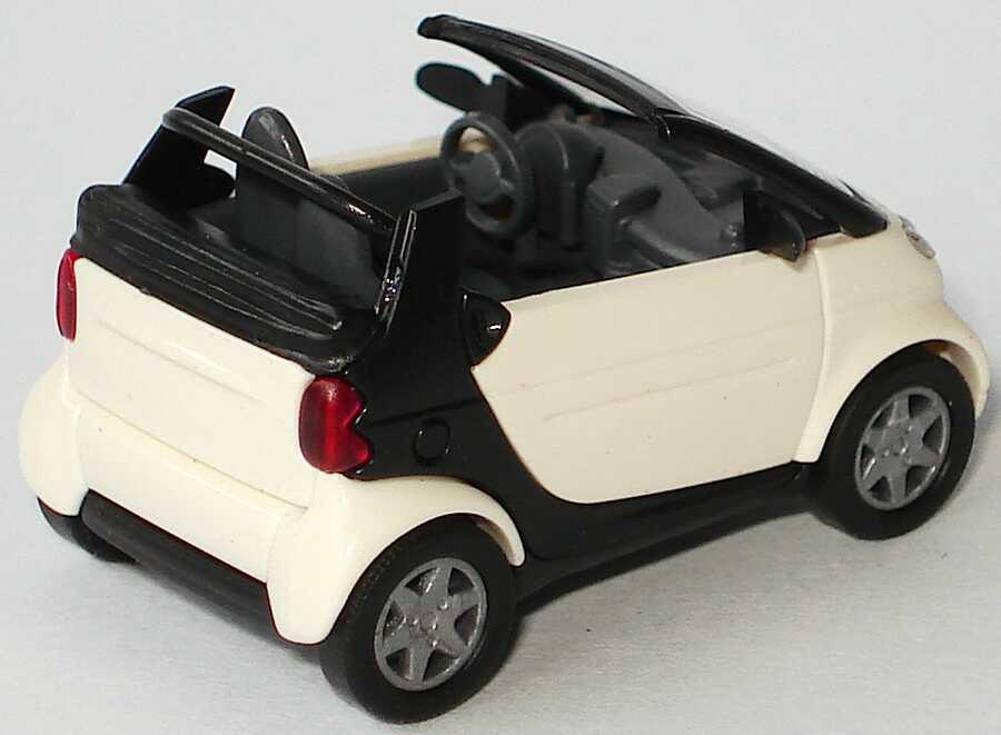 Foto 1:87 MCC Smart Cabrio weiß/schwarz, Sitze grau Busch 48970