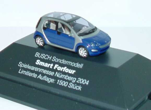 Foto 1:87 MCC Smart Forfour blau/silber Spielwarenmesse Nürnberg 2004 Busch