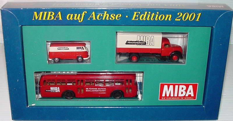 Foto 1:87 MIBA auf Achse - Edition 2001 (VW T1B Kasten, Magirus Mercur 2A PP-LKW, Büssing 6500 T Überlandbus) Brekina 16284109